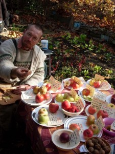 Nick shares samples of storage apple and pear varieties at last year's Food Not Lawns Fall Seed Swap