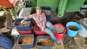 Totes of dry beans make excellent barn lounge furniture.
